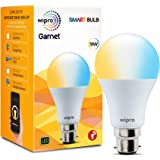 Wipro Wi-Fi Enabled Smart LED Bulb B22 9-Watt (Pack of 1, Shades of White and Yellow) Compatible with Amazon Alexa and Google
