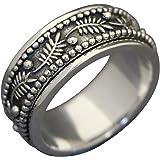 Energia pietra foglia di palma 3D foglie di palma meditazione spinning anello in argento Sterling (Style UK42)
