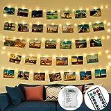 Guirlande Lumineuse Photo,Télécommandée 5M 50LED avec 30 Clips Photo et 8 Modes de Boîtier de étanche Guirlande Lumineuse Pou