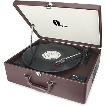 1byone platine vinyle transportable bluetooth int gr tourne disque 3 vitesses avec enceintes. Black Bedroom Furniture Sets. Home Design Ideas