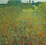 Artland Poster Kunstdruck aufgezogen auf Holz-Platte Wand-Bild Gustav Klimt Mohnfeld Botanik Blumenwiese Malerei Grün 59 x 59 x 1,2 cm A7DY