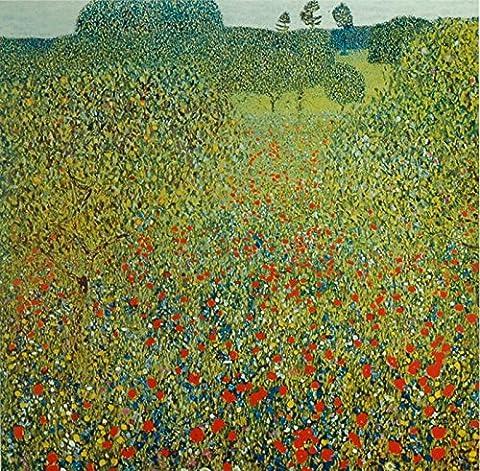 Impression sur toile images artland museum panneau de gustav klimt art abstrait : di campo papaveri dimensions : 59 x 59 cm-nord