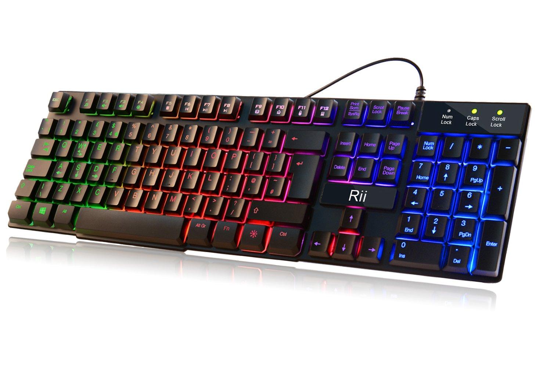 mechanical feeling gaming keyboard backlit usb wired led 7 color gamer office. Black Bedroom Furniture Sets. Home Design Ideas