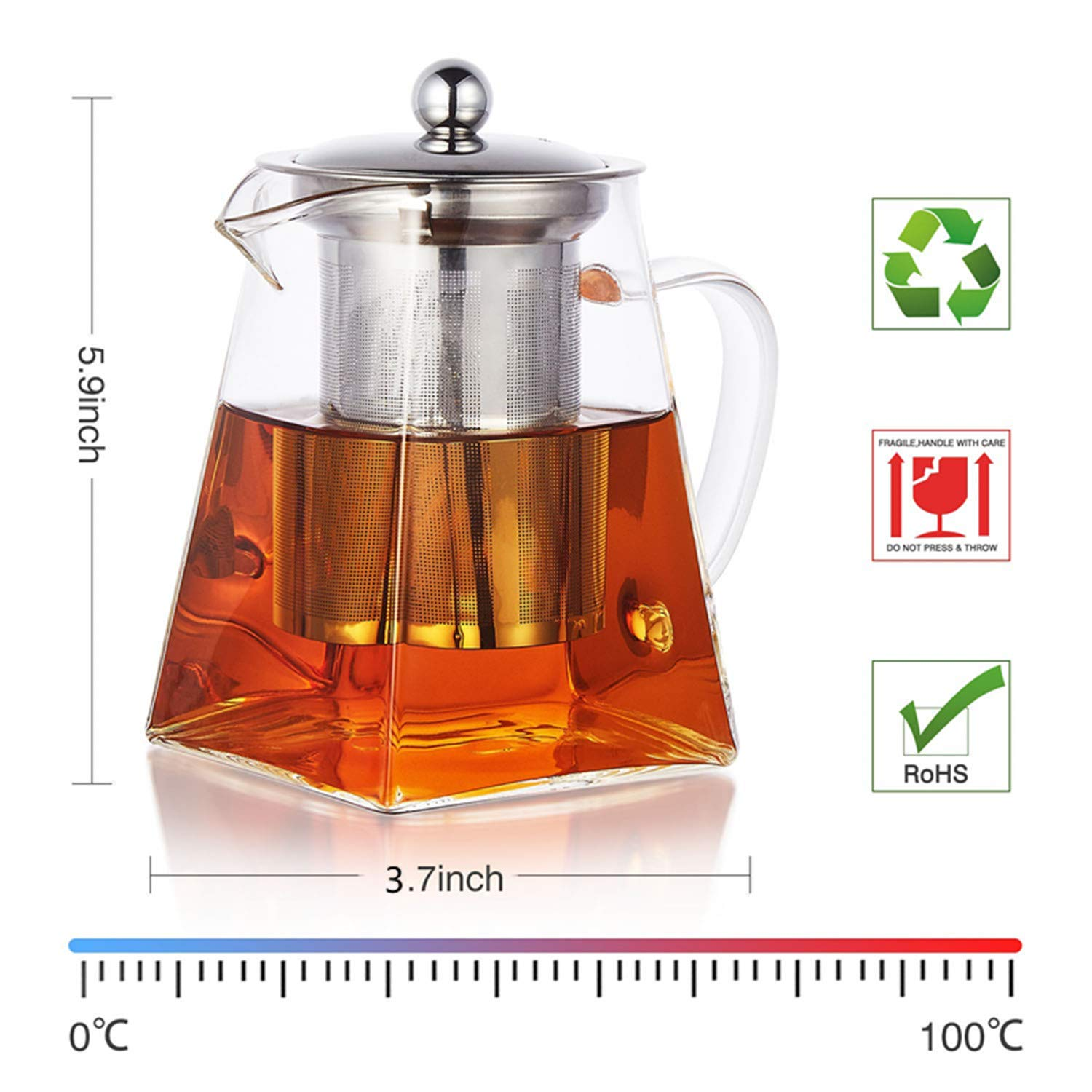 Clear Glass Teapot With Stainless Steel