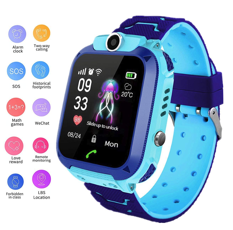 linyingdian Smartwatch Niños, Reloj Inteligente Niña IP67, LBS, Hacer Llamada, Chat de Voz, SOS, Modo de Clase, Cmara… 1