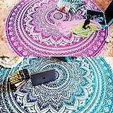 2 x runde Ombre-Mandala-Wandteppichen, im Boho-Stil, geeignet als Tischdecke oder für Picknicks, Strand, Yoga, in Blau und Rosa, 182 cm (72 Zoll)