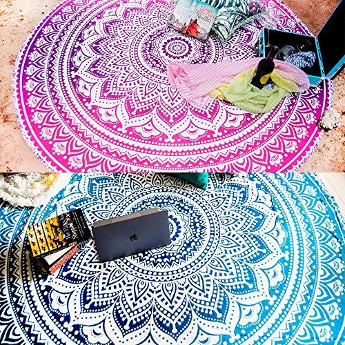Folkulture Satz von 2 Ombre Mandala Runde Tapisserie Hippie indische Roundie Picknick Spread Boho Zigeuner Baumwolle Tischdecke Strandtuch Meditation Yoga-Matte - 72x70 Zoll Durchmesser Blau und Rosa -