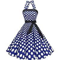 Timormode Abito Vintage Donne Vestito Cocktail 1950 Gonna retrò Estiva Rockabilly Allacciatura al Collo di Polka Dots…