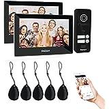 TMEZON WLAN 2 familiehuis IP video deurintercomsysteem, intercomsysteem met 2 * 7 inch 1080p touchscreen monitor, bedrade deu