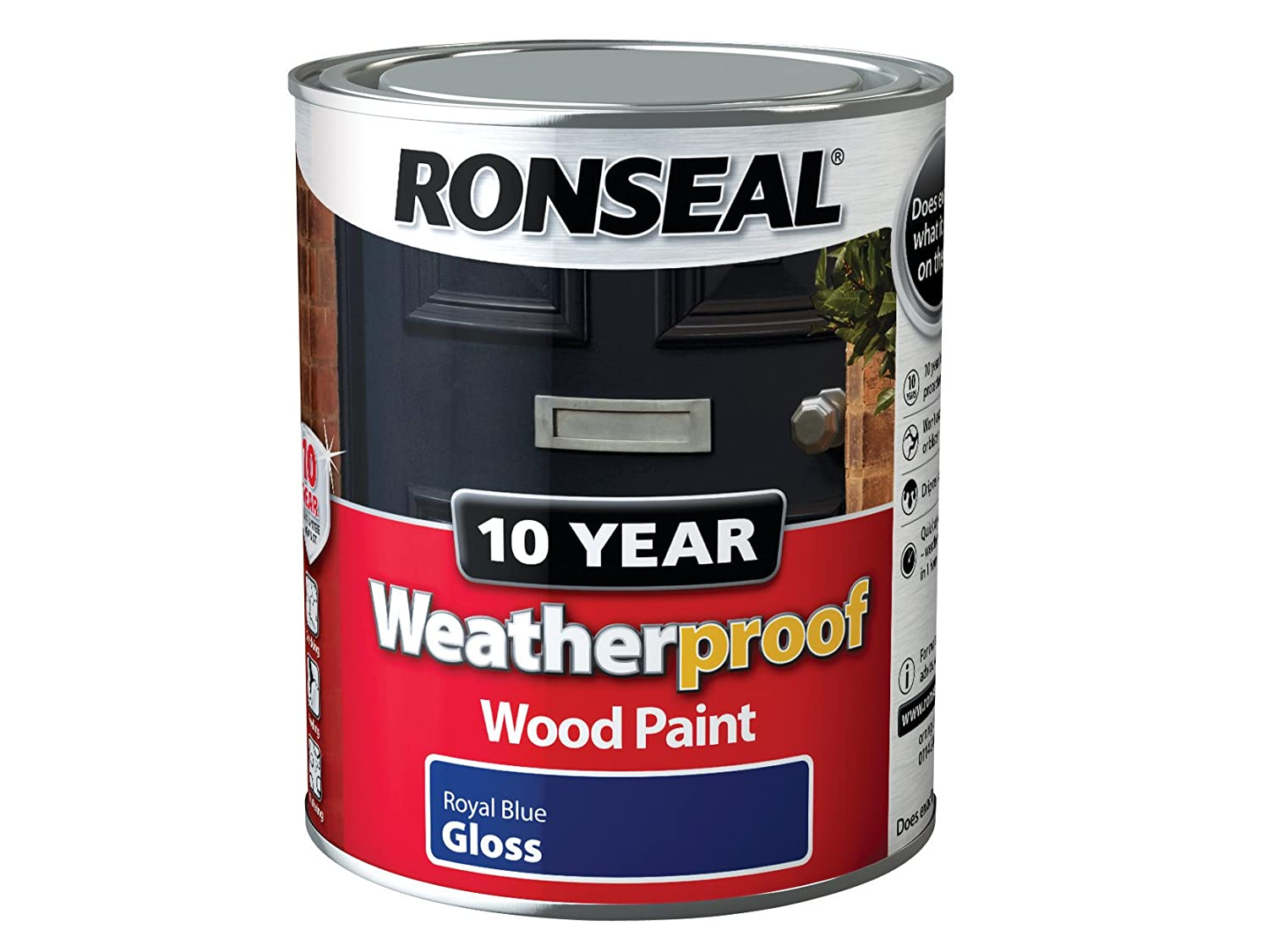 Exterior Gloss Paint Colours Part - 38: Ronseal WPRRG750 750 Ml 10 Year Weatherproof Exterior Gloss Wood Paint -  Red: Amazon.co.uk: DIY U0026 Tools
