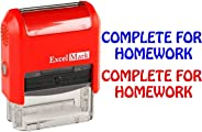Complete for Homework - ExcelMark Self-Inking Two-Color Rubber Teacher Stamp - Perfect for Grading Homework - Red and Blue In