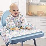 مريلة لفطام الطفل بغطاء كرسي مرتفع مرفقة مريلة باكمام طويلة، مريلة لفطام الطفل من اجل الفطام الذي يقوده الطفل الصغير (الحياة