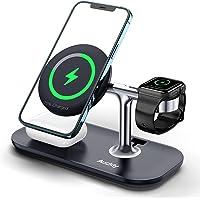 Auckly 3 in 1 Qi 15W Magnetisch Wireless Charger,Kabelloses Ladegerät kompatibel mit MagSafe Handyhalterung für iPhone…