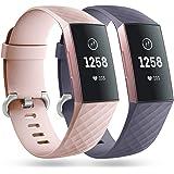 Faliogo 2 Stuks Vervangende Band Compatibel met Fitbit Charge 3 Bandje/Fitbit Charge 4 Bandje, Zachte Sport Bandje Polsbandje