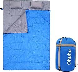 ohuhu 218,4x 149,9cm toller Doppel-Schlafsack mit 2gratis Kissen und eine Tragetasche für Camping, Rucksackreisen, Wandern