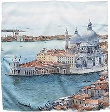 """Damen Halstuch aus 100% reiner Seide mit dem Aquarell""""Venedig - Blick auf Punta della Dogana"""" des Künstlers Nicola Tenderini bedruckt. Hergestellt in limitierter Auflage in Italien. Made in Italy"""
