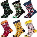 6 Pairs Colourful Mens Socks, Stylish Patterned Crew Socks, Party Crazy Cotton Socks Men Women