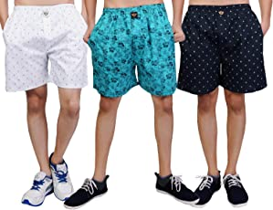 White Moon Cotton Men's Printed Casual,Sports,Regular wear Boxer/Shorts with Pockets in WHTE,CGRN,NVY Colour (Pack of 3)