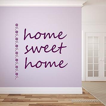 Wandtattoo Home Sweet Home Spruch Flur Diele Hausflur (120 X 90cm, Lila)