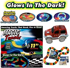 Fantasy India 165 Pieces DIY Magic Tracks Flexible Bendable Dark Glow Assembling Racetrack Set with LED Flashing Race Cars Gift for Boys Girls Kids Birthday