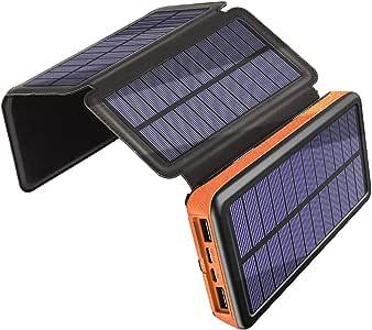 Solar Ladegerät 25000mAh, Draussen Energiebank mit 4: Amazon
