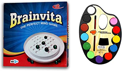 Art Bundle Challenging Brainvita Game + Large Artistic Palettes with 12 Water Color & Artist Paint Brush in Each of The Plate