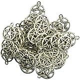 Dolity 50 Pcs de Colgante Encantos Filigrana de Plata Tibetana Redonda Pentáculo Estrella de Moda Fabricación de Abalorios Bi