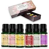 Aceites Esenciales,Naturales ESSLUX Flores Aceites Esenciales para Humidificador Difusor Top 6 Set Natural Puro, Rosa, Ylang