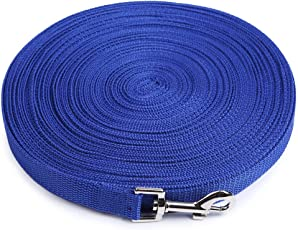 Dog Training Lead Long Rope Cotton Nylon Webbing Recall Obedience Line Leash for Pet 3m/10ft, (Blue)