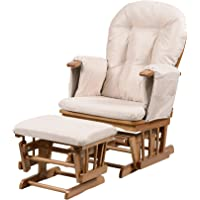 Kub® Haywood Reclining Nursing Glider and Footstool (Dark) – Padded Hugging Cushions with Storage Pocket, Easy to Assemble, Smooth Gliding Motion