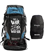 Mufubu Presents Get Unbarred 55 LTR Rucksack for Trekking, Hiking with Shoe Compartment and Waterproof Rain Cover (Black/Blue)