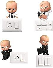 Switch Board Sticker -Decor Kafe Decorative Cute Boss Baby Wall Decorative - Switch Panel Stickers Wall Sticker Set of 4 - Light Switch Sticker