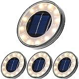 Luci Solari Giardino Tomshine 12LED Luci Solari da Esterno Faretti Solari a LED da Esterno IP68 Impermeabile(Bianco caldo)【4P