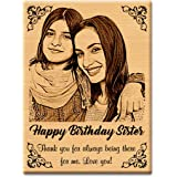 GFTBX Birthday Gift for Sister - Personalized Engraved Wooden Photo Frame with Photo Upload | Customized Gifts for Sister on