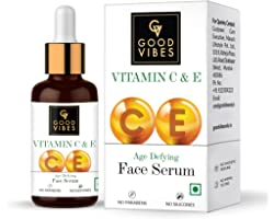Good Vibes Vitamin C & Vitamin E Age Defying Serum, 30 ml Light Weight Non Greasy Helps Reduces Wrinkles Skin Repair, Natural