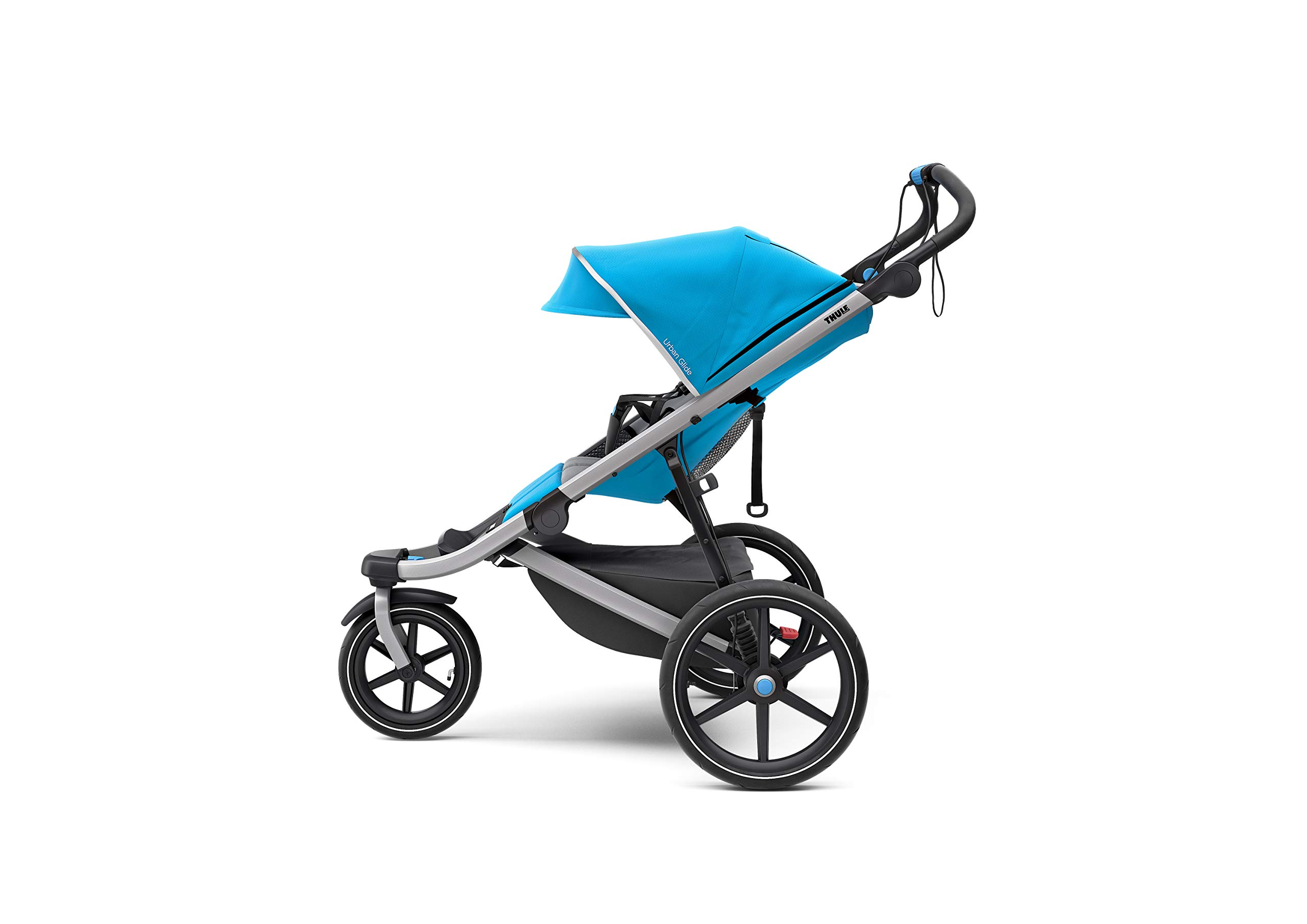 Thule Urban Glide 2.0 Jogging Stroller (Thule Blue w/Silver Frame) Thule One-handed, compact fold for easy storage and transportation Integrated twist hand brake provides speed control on hilly terrain Multi-position canopy with side-ventilation windows ensures your child is comfortable 11