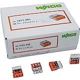 100 pièces Wago 2273-203 Boîte de jonction COMPACT Ø 0,5-2,5 mm², 3 pôles, transparent/orange
