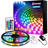 LED Strip Light with Remote 5M, SOLMORE RGB Strips Lighting SMD5050 Color Change LED Rope Lights Ideal for bedrooms, Party De
