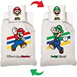 MARIO - Housse De Couette Its-a me Super Mario/Luigi Réversible Ado 140x200cm + 1 Taie d'oreiller 63x63 cm - Parure De Lit 1