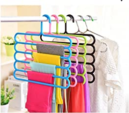Sterling Bazaar unique design multifunctional Clothes Hanger Plastic 5 Layers Pants Trousers Hanger Holder Clothes Rack Drying Holder Necktie Belt Tie Scarf Towels Non-Slip Hanger Storage Organizer 33.5cm*34cm-pack of 1(Assorted Colour Will Be Shipped)