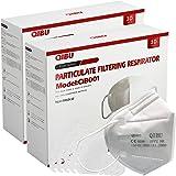 Qibu Mascherine FFP2 Certificate CE 0598, sigilliate singolarmente - 50 Mascherine FFP2 a 5 strati con elastici resistenti +