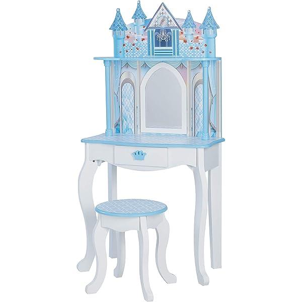 White//Ice Blue Teamson Kids TD-12951F Castle Kids Dressing Table Vanity Set