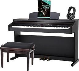 Classic Cantabile DP-50 RH E-Piano SET (Digitalpiano mit Hammermechanik, 88 Tasten, 2 Anschlüsse für Kopfhörer, USB, LED, 3 Pedale, Piano für Anfänger, Pianobank, Kopfhörer, Klavierschule) Rosenholz