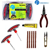 TIREWELL TW-5002 6 in 1 Universal Tubeless Tire Puncture Kit Emergency Flat Tyre Puncher Repair Patch Tool Box for Car…