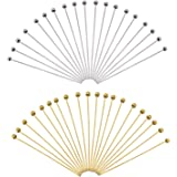TOAOB 200 Pezzi Chiodini Testa con Palla Spilli Dritti 50x0.6 mm per Fai da Te Collane Orecchini Bracciale Creazione di Gioie