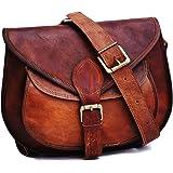 حقيبة كتف مصنوعة يدويًا من الجلد البني الأصلي بنمط عتيق للنساء من Satchel and Fable