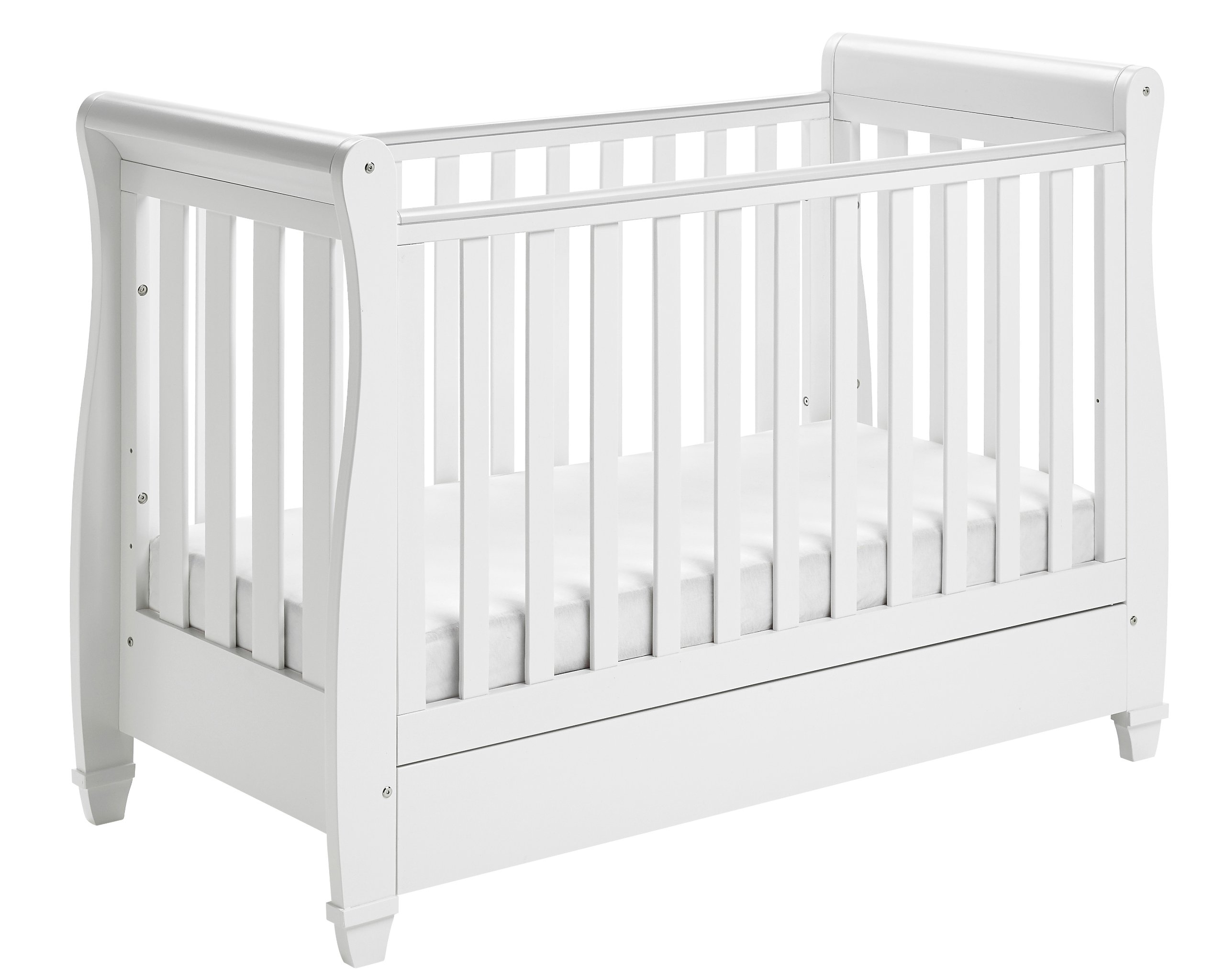 Babymore Eva Sleigh Cot Bed Dropside with Drawer (White Finish) + FOAM MATTRESS  Easily convert to junior bed/sofa/day bed, Meet British and European safety standards; Single handed drop side mechanism allow easy access to your baby Protective Teething rail on top of both sides. Full drawer on runner provide extra storage 3