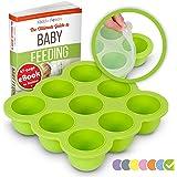KIDDO FEEDO Silikon Babynahrung Aufbewahrung Behälter Zum Einfrieren Babybrei mit Silikondeckel - BPA-frei - 9 x 75ml…