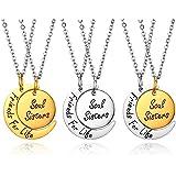 JewelryWe Collar colgante de mujer hombre niño grabado regalo con colgante en forma de luna sol Friends for Life Soul Sisters