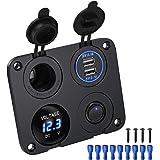 Deyooxi Panneau de Prise de Chargeur 4 en 1,avec Prise de Courant 12 V, Chargeur Double Prise USB,Voltmètre à LED Bleue,Inter
